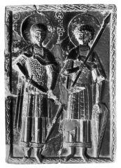 Великомученики Георгий и Димитрий Солунский. Икона. Кон. XI-XII в. (ГЭ)