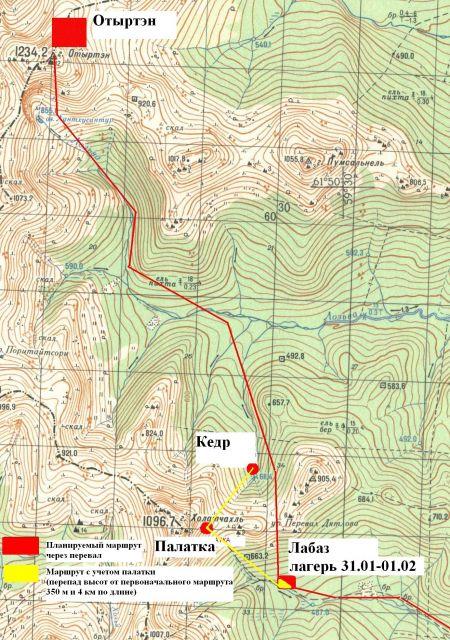 Карта предполагаемого маршрута
