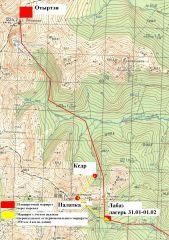 Карта предполагаемого маршрута группы Дятлова и того маршрута, который получается исходя из расположения Палатки.