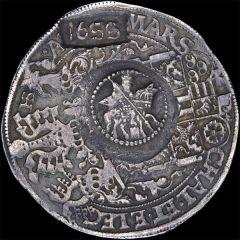 Ефимок с признаком 1655 года, на талере 1579 года. Серебро 29,05 г. Саксония. Портретный талер Августа. Спасский 1066-1067.