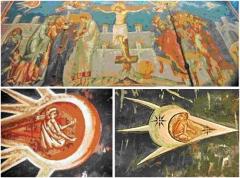 Фреска иконы Распятие,  якобы 1350 г. Расположена над алтарем монастыря Visoki Descani в Косово.