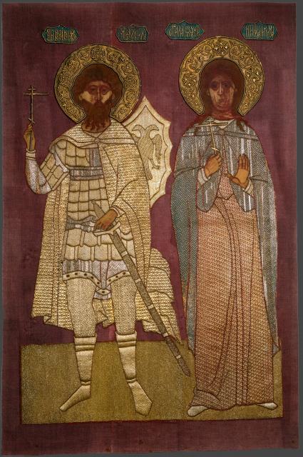 Феодор Стратилат, вмч., и Ирина (Македонская) мученица. 1592г. Икона