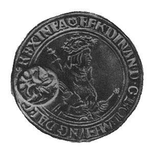 Иоахимстальный талер Фердинанда I (1527-1580), надчеканенный круглым клеймом с двуглавым орлом.
