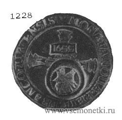 Серебряный франкфуртский талер с русским надчеканом в виде Ездеца и пробой «16SS».