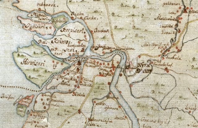 Шведская карта устья Невы 17 века. Государственный Шведский Архив.
