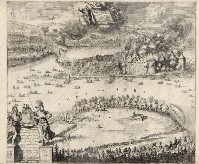 ШХОНЕБЕК . Гравюра. ВИД ОСАДЫ КРЕПОСТИ ШЛИССЕЛЬБУРГ (НОТЕБУРГ) 11 ОКТЯБРЯ 1702 ГОДА    1703