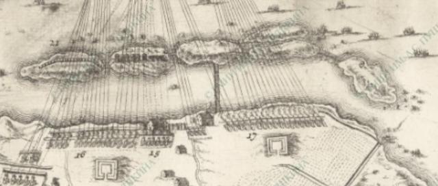 Шхонебек. Гравюра. ПЛАН ОСАДЫ КРЕПОСТИ ШЛИССЕЛЬБУРГ (НОТЕБУРГ) 11 ОКТЯБРЯ 1702 ГОДА
