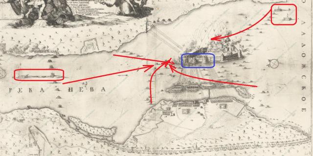 Гравюра Шхонебека Взятие Нотебурга 1702 г.
