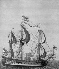 """Гравюра А. Шхонебека 1701 г. """"Корабль Предестинанція"""""""