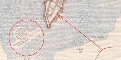 Карта устья Невы с Нотебургом из Государственного Архива Швеции. (фрагмент)