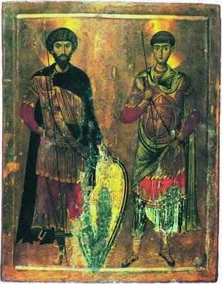 Великомученики Димитрий Солунский и Феодор Стратилат. Икона. XIII в. (мон-рь вмц. Екатерины на Синае)