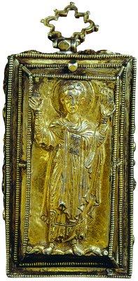 Вмч. Димитрий Солунский. Икона на фасаде кафоликона мон-ря Ксиропотам на Афоне.