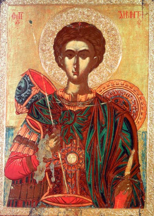 Икона Димитрия Солунского. Фрагнос Кателанос. Вторая половина 16 века. Афины.