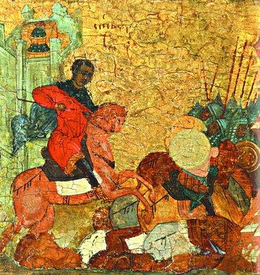 Вмч. Димитрий повергает врагов Фессалоники. Клеймо иконы «Вмч. Димитрий Солунский с житием». Нач. XVI в. (ГМЗРК)