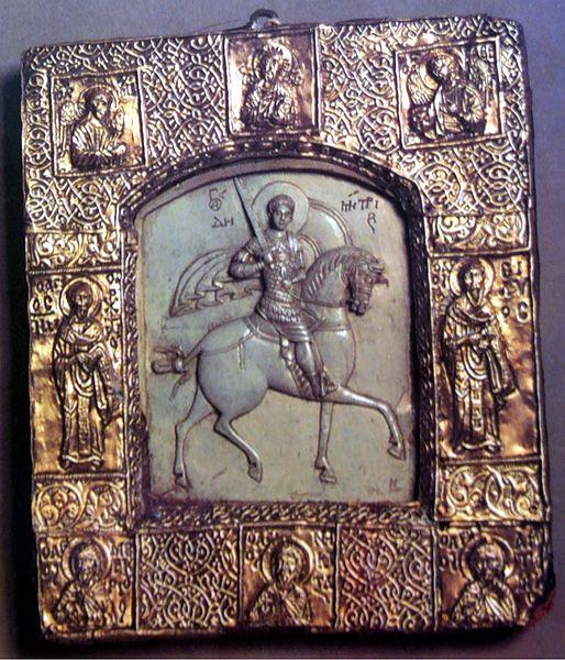 Saint Demetrius.  Byzantine. Photo of Kremlin Armoury. Привезена из Византии Дмитрием Донским после Куликовской Битвы. Стеатит, серебро