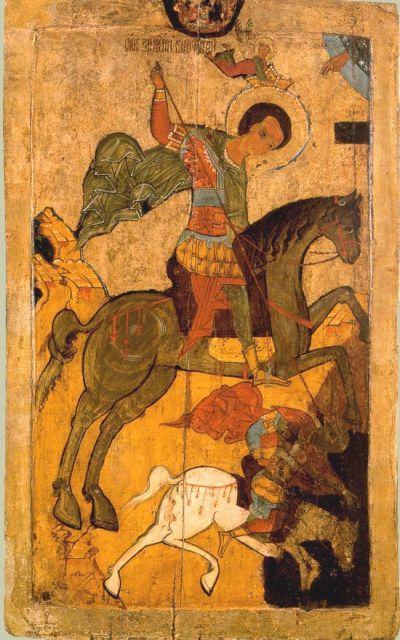 Чудо вмч. Димитрия о царе Калояне. Русская икона, 1-ая половина 16 век.