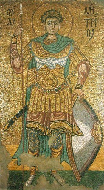Святой Дмитрий. Мозаика Михайловского Златоверхого монастыря в Киеве. (11 век)