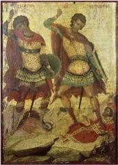 Иконы письма Михаила Дамаскина (1530/1535 — 1592/1593). Святые Георгий и Дмитрий.