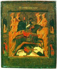 Чудо великомученника Димитрия о царе Калояне. Икона. XIX в. (ГИМ)