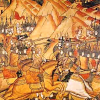 """Миниатюра из Лицевого летописного свода Ивана Грозного """"Битва на Косовом поле""""."""