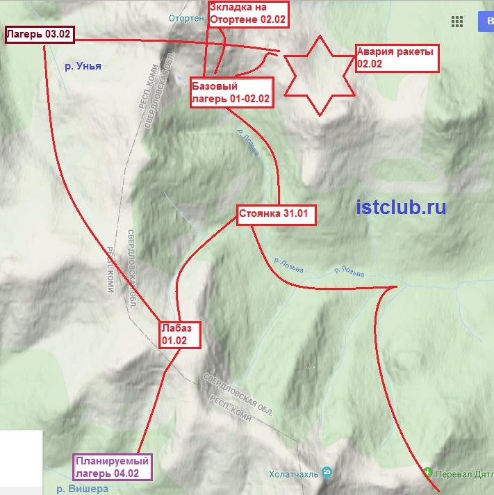 Схема похода группы Дятлова в феврале 1959