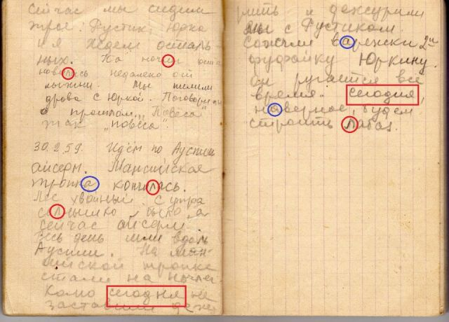 Увеличенный скан оригинала последней страницы Дневника Зины Колмогоровой с анализом почерка