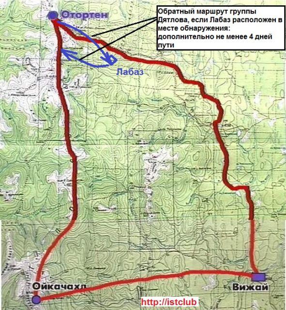 Планируемый маршрут экспедиции Дятлова