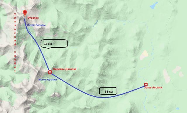 План маршрута группы Дятлова