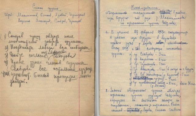 Образцы почерка Масленникова из его Записной книжки