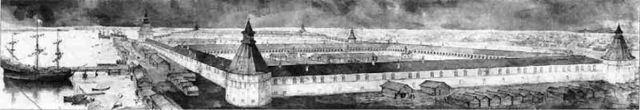 Вид Двинской крепости (Гостиного двора) в 1687 году. Гравюра неизвестного мастера